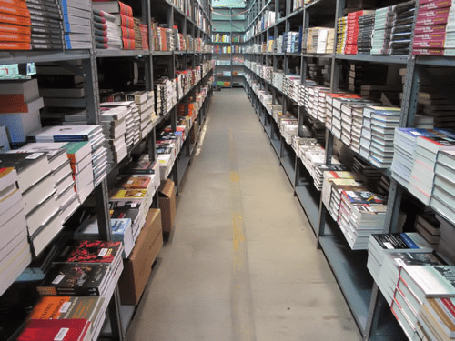 photo: partial view of The Motor Bookstore's outsourced warehouse