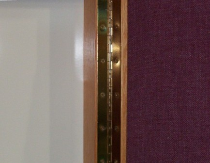 inside of conference cabinets with fabric doors