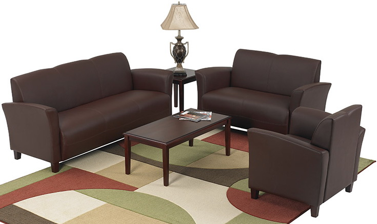 Office Star Wine Eco Leather Office Loveseat Sl2272 Office