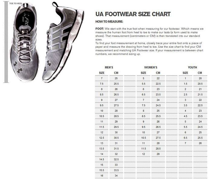 Under Armour Footwear Size Chart