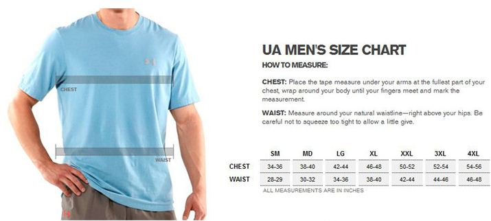 under armour size chart hoodie