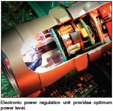 Electronic power regulation unit provides optimum power level.