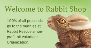 Welcome to Rabbit Shop. 100% of all proceeds go to the bunnies at Rabbit Rescue a non-profit all Volunteer Organization.