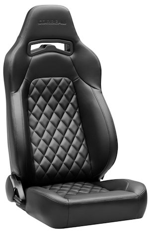 Corbeau Trailcat Racing Seat Black Vinyl Diamond w/Black Stitching 44901B