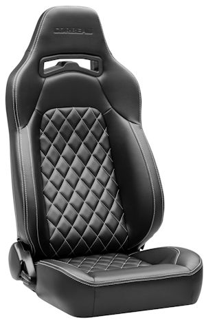 Corbeau Trailcat Racing Seat Black Vinyl Diamond w/White Stitching 44901W