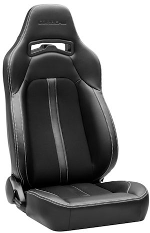 Corbeau Trailcat Racing Seat Black Vinyl/Cloth w/White Stitching 44902BW