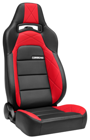 Corbeau Trailcat Racing Seat Black Vinyl/Red HD Vinyl 44917