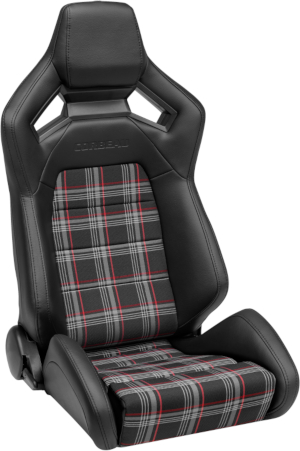 Corbeau RRX Racing Seat Black Vinyl/Red Plaid Cloth 55022