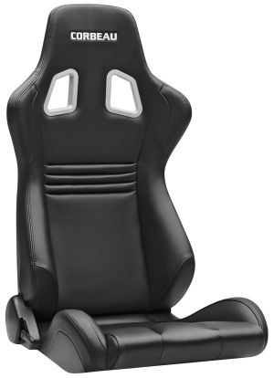 Corbeau Evolution Racing Seat Black Vinyl / Carbon Fiber Vinyl / Black Stitching 64901B