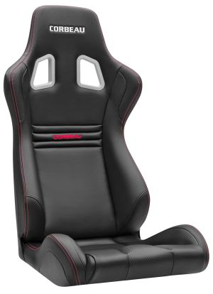 Corbeau Evolution X Racing Seat Black Vinyl / Carbon Fiber Vinyl / Red Stitching 64901F