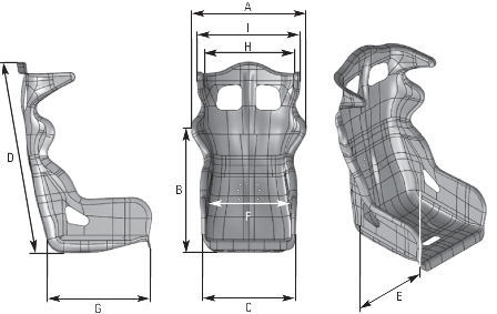 OMP ARS-R and ARS-R Carbon Racing Seat Dimensions