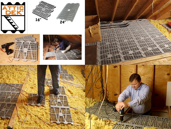 ... with Attic Dek. Designed for unfinished attic spaces over a garage or under a roof. Sections install easily these will fit 24  on center truss spacing ... & Attic Dek Flooring System Four (4) Pack 24 In. On Center Units