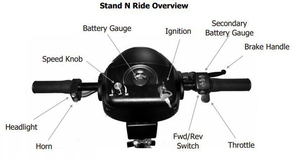 Stand-N-Ride 3 Wheel Scooter - handle bar and controls