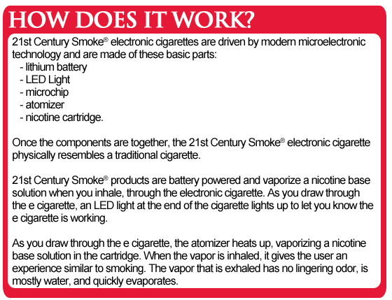 """21st Century Smoke ® electronic cigarettes let you conveniently enjoy a  smooth and enjoyable """"vaping"""" experience that is similar ..."""