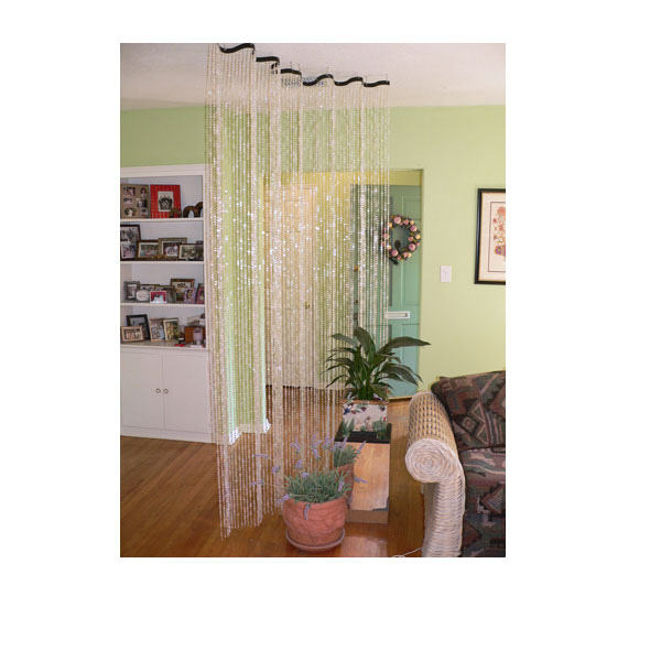 Crystal Beaded Curtain on Wavy Rod - Funky Room Divider - ShopWildThings.com - Crystal Beaded Curtain On Wavy Rod - Funky Room Divider