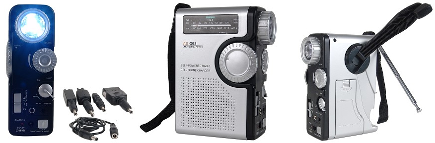 Hand Crank Emergency Cell Phone Charger, AM/FM Radio and Flashlight