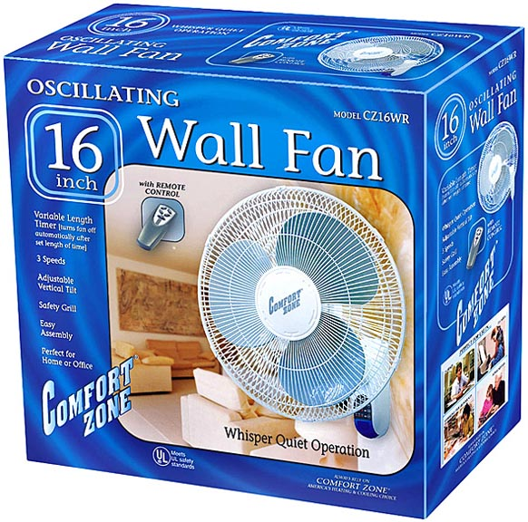 16 inch 3 Speed Oscillating Wall Mount Fan with Remote