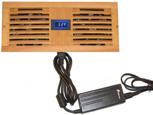 Deluxe Dual Fan Cabinet Cooler Kit with Custom Wood Grill & Programmable Thermal Fan Controller w/ LED Display