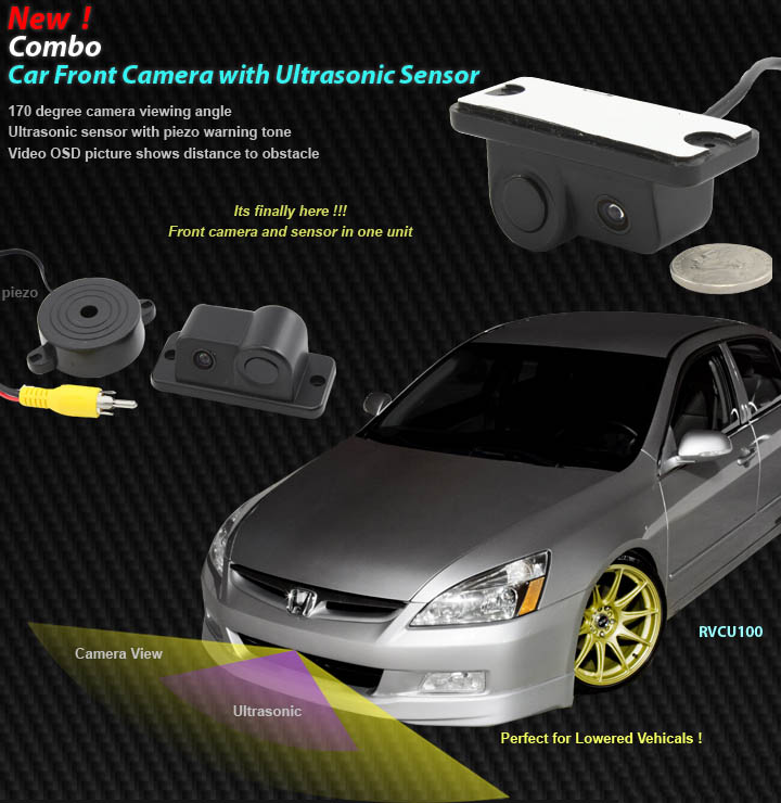 Car Front Camera with Ultrasonic Sensor Combo
