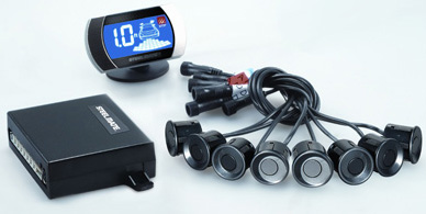 Front & Rear Parking Sensor System with blue LCD display