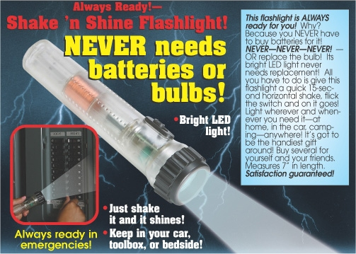 No Battery LED Faraday Technology Shake Flashlight