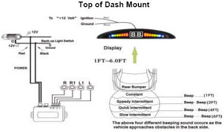 Wireless Display Top Or Under Dash Mount Reverse Parking Sensor Kit