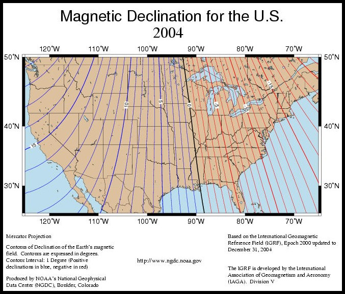 Find Your Declination Adjustment Value - Us map with compass