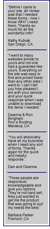 California Lien Waiver and Release forms - Testimonials from happy customers