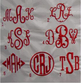 Three initial monogram options