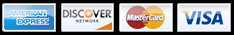 We accept American Express, Discover, MasterCard,and VISA