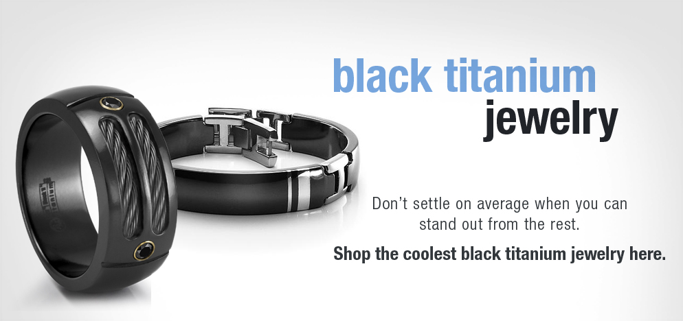Mens Modern Black Titanium Jewelry