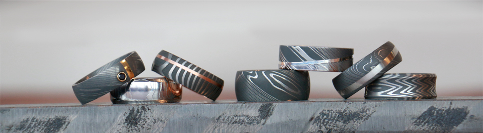 Damascus Steel Rings by Lashbrook Designs at Titanium Jewelry