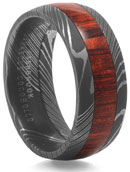 damascus steel ring with wood
