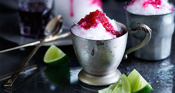 Shaved Ice With Cherries, Gin, and Lime