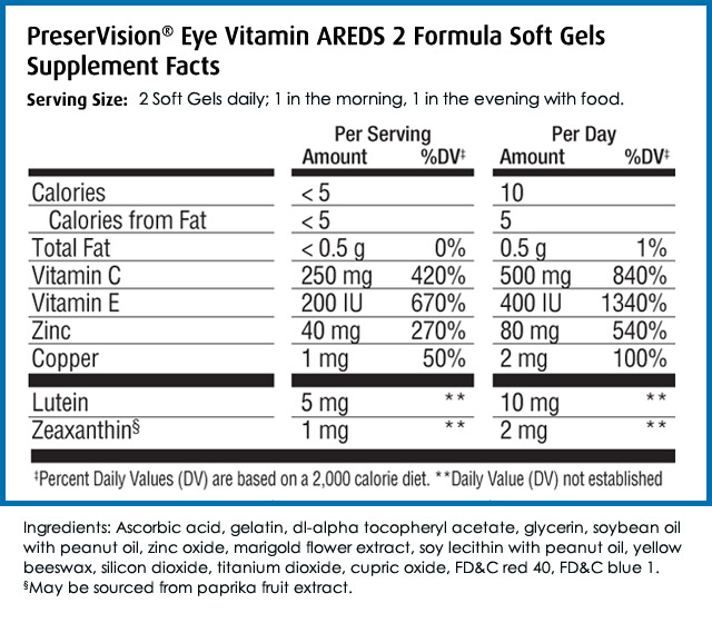 PreserVision AREDS2 supplement facts