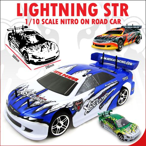 radio control nitro on red cat road car str