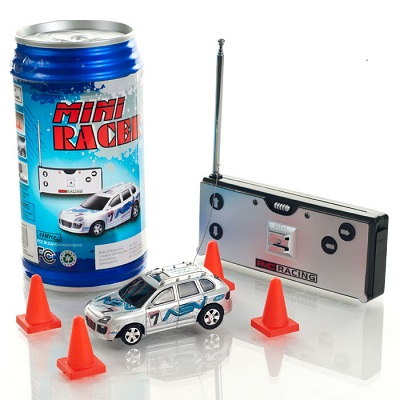 rc cars mini racer remote control car in a can blue. Black Bedroom Furniture Sets. Home Design Ideas