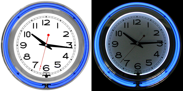 cool neon blue wall clock