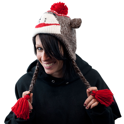 sock monkey cool winter hat