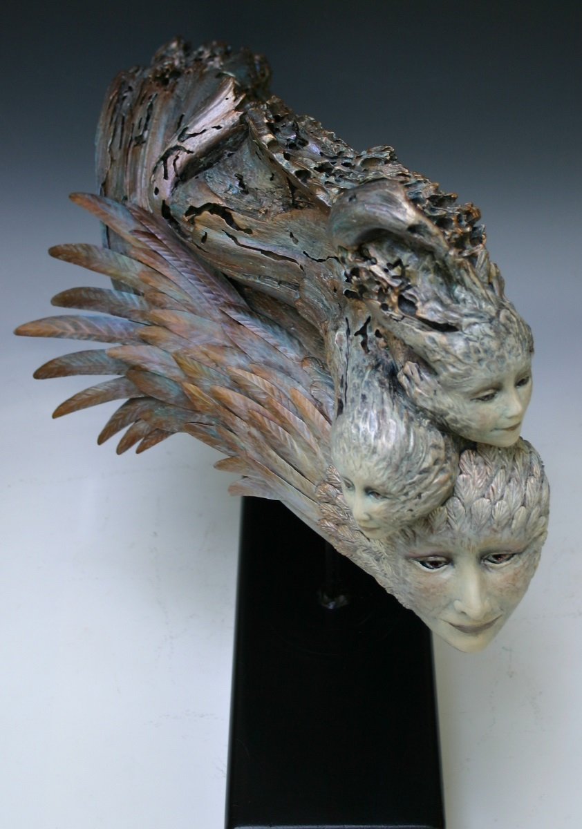 Basic Copper Copper And Driftwood Sculpture By Linda Hartman