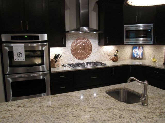 Kitchen Backsplash With Copper Medallion Accent By Jl Peyton Louisiana