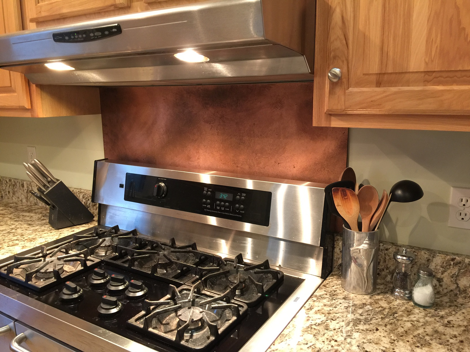 kitchen with metal backsplash rustic brown copper backsplash 6531