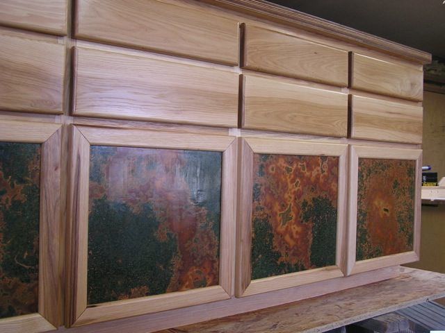 Kitchen Cabinets With Copper Door Inserts