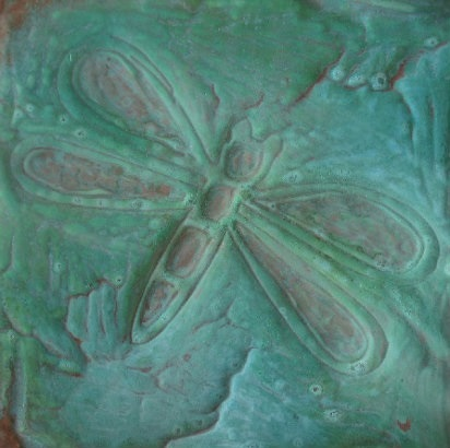 patina green copper dragonfly