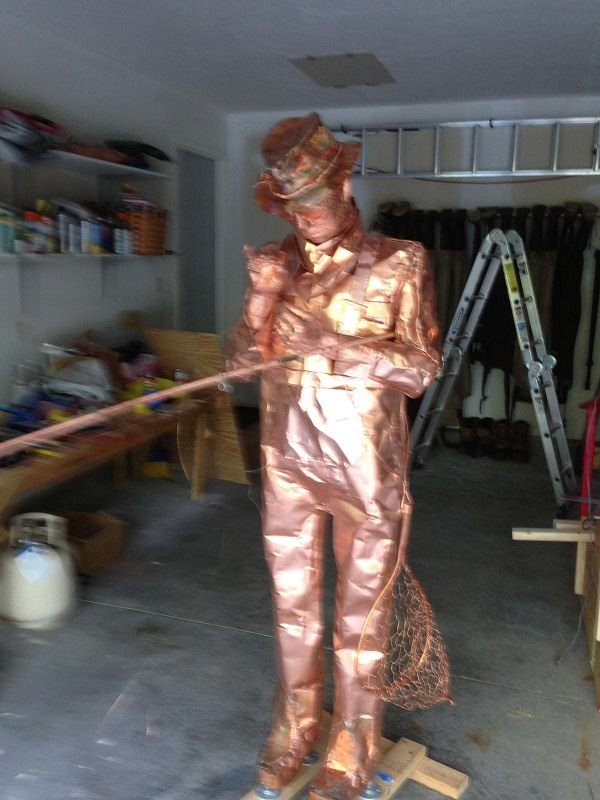 Copper Sculpture Fisherman By George Charney