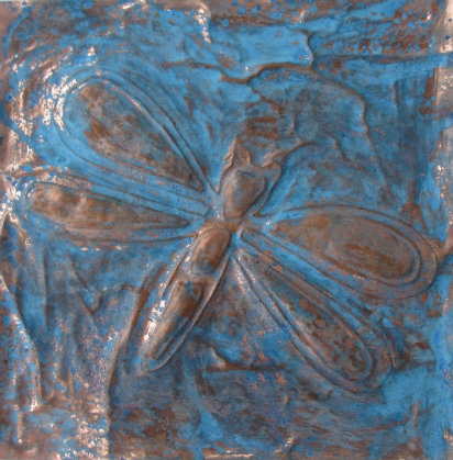 blue patina copper dragonfly