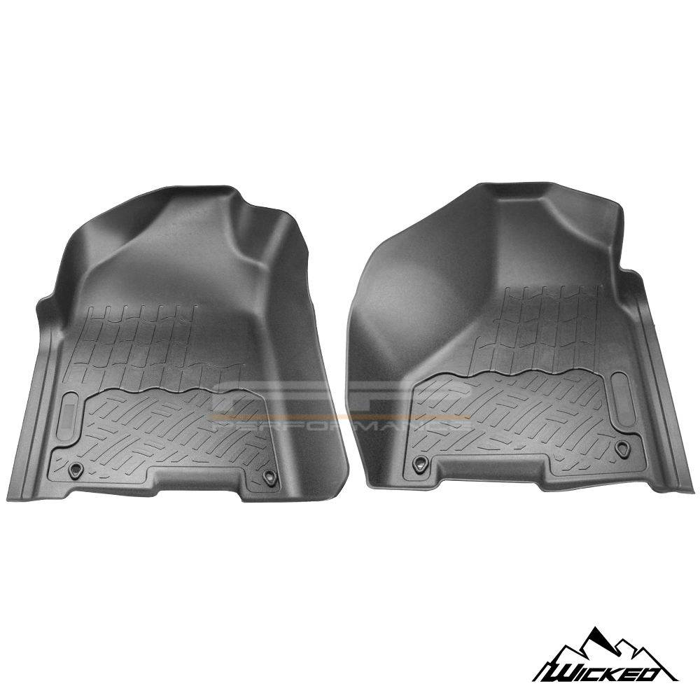 Wicked All Weather Floor Mats Liner for 09-18 Dodge Ram 1500 Quad Cab Front 2Pcs