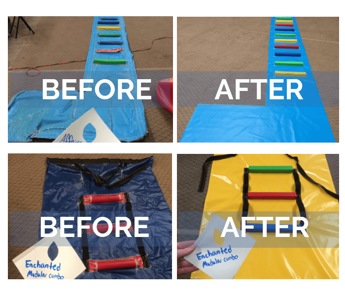 before and after repairs of inflatable slide blankets