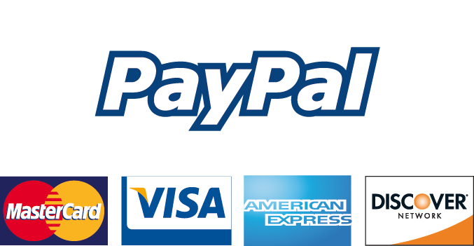 Secure payments accepted through PayPal, as well as Visa, Mastercard, Discover, and American Express