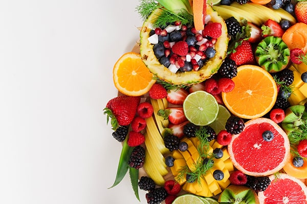 Assorted fruits containing good vitamins